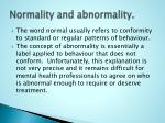 normality and abnormality