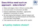 does africa need such an approach stds criteria