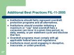 additional best practices fil 11 2005
