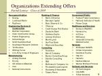 organizations extending offers partial listing class of 2005