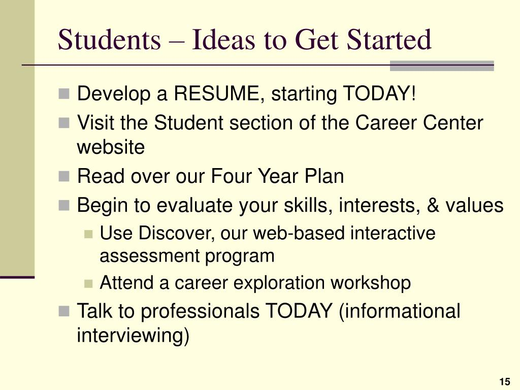 Students – Ideas to Get Started