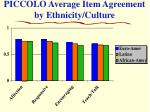 piccolo average item agreement by ethnicity culture