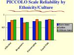 piccolo scale reliability by ethnicity culture