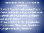 positions for which cdf s could be trained for