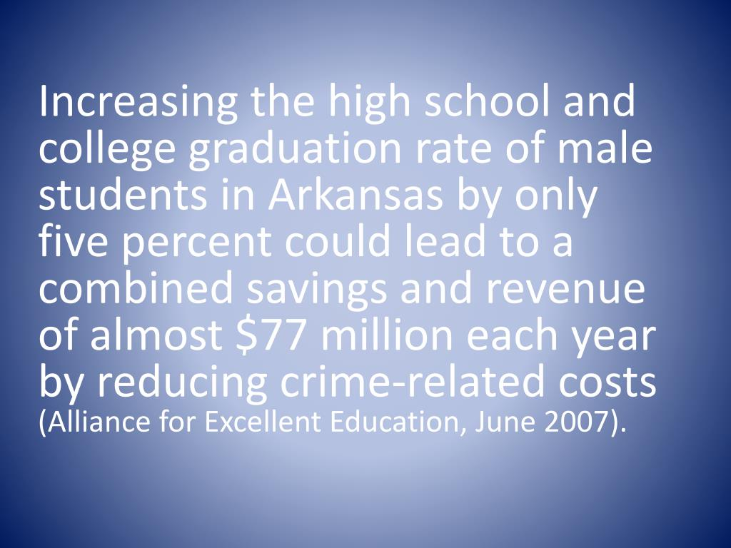 Increasing the high school and  college graduation rate of male students in Arkansas by only five percent could lead to a combined savings and revenue of almost $77 million each year by reducing crime-related costs