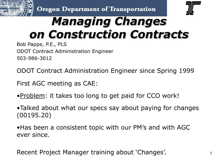 managing changes on construction contracts n.