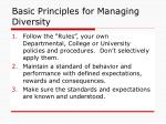 basic principles for managing diversity