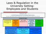 laws regulation in the university setting employees and students