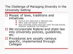 the challenge of managing diversity in the university setting