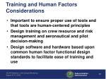 training and human factors considerations