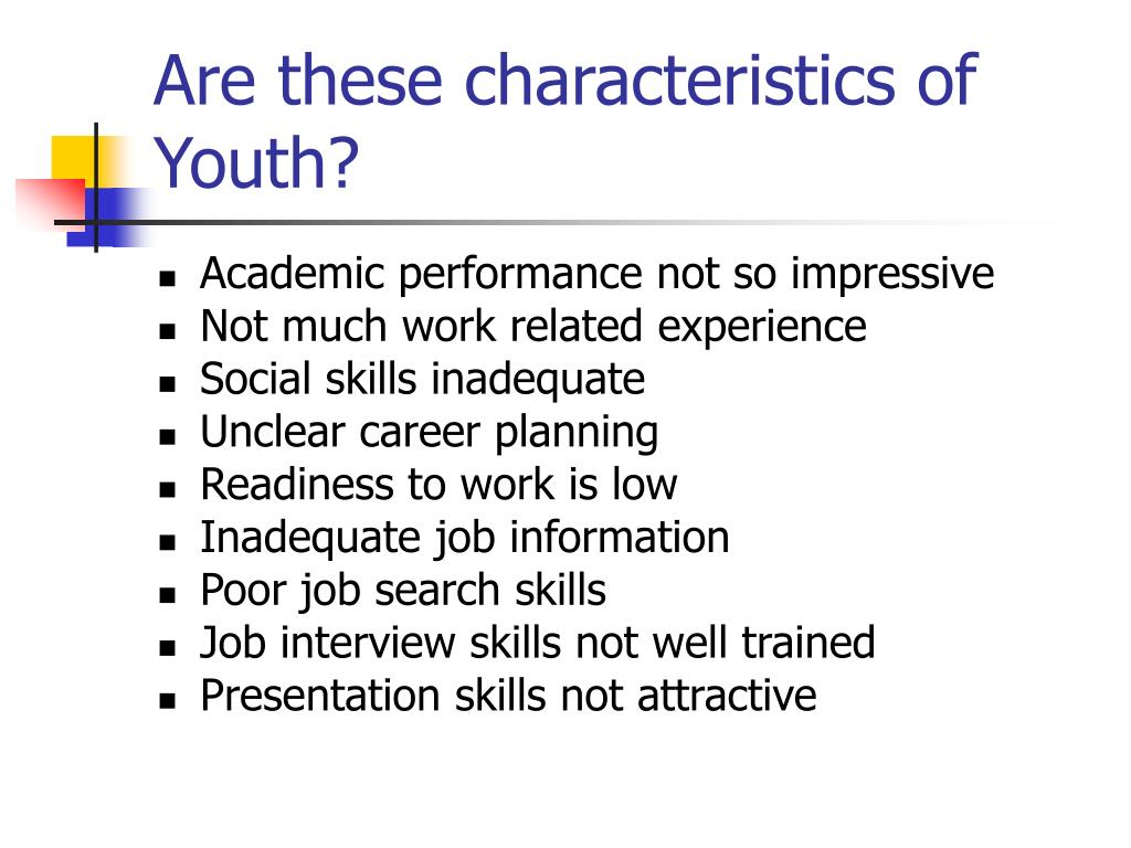 Are these characteristics of Youth?