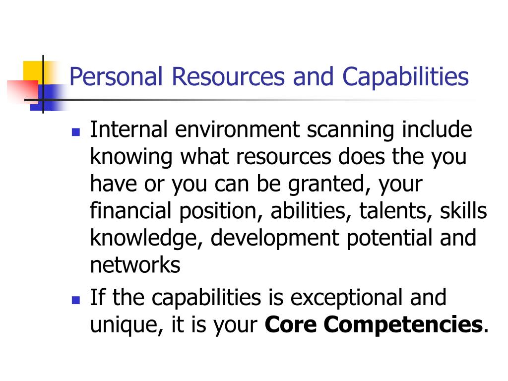 Personal Resources and Capabilities