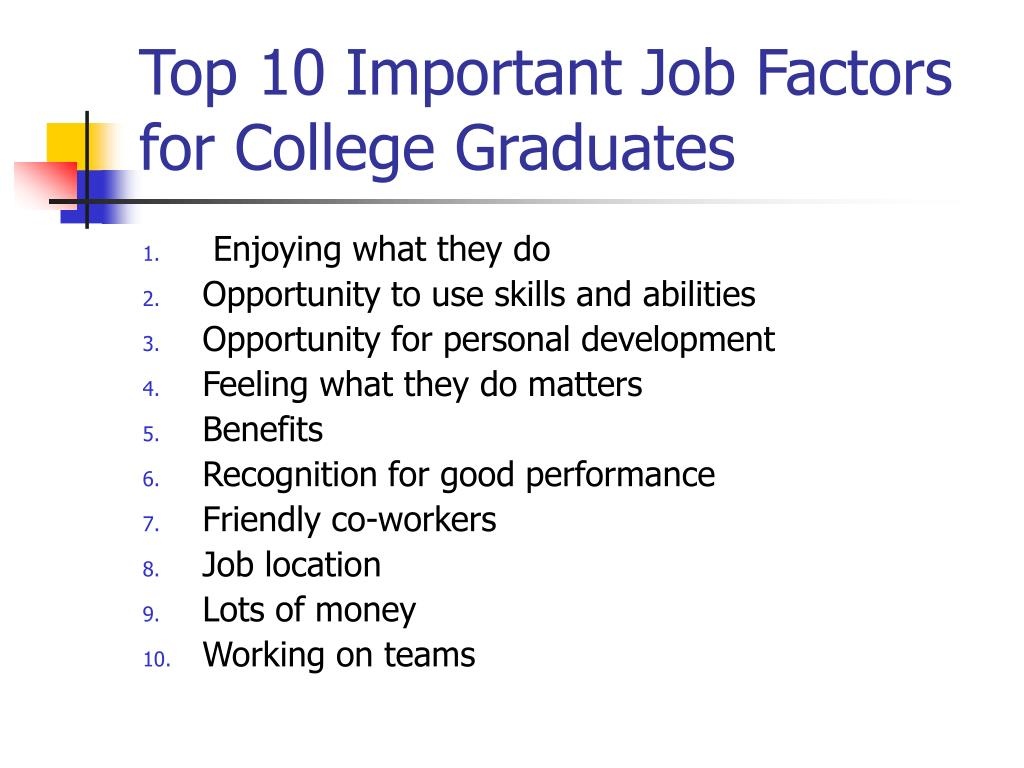 Top 10 Important Job Factors for College Graduates