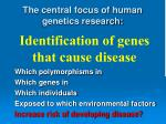 the central focus of human genetics research