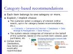 category based recommendations