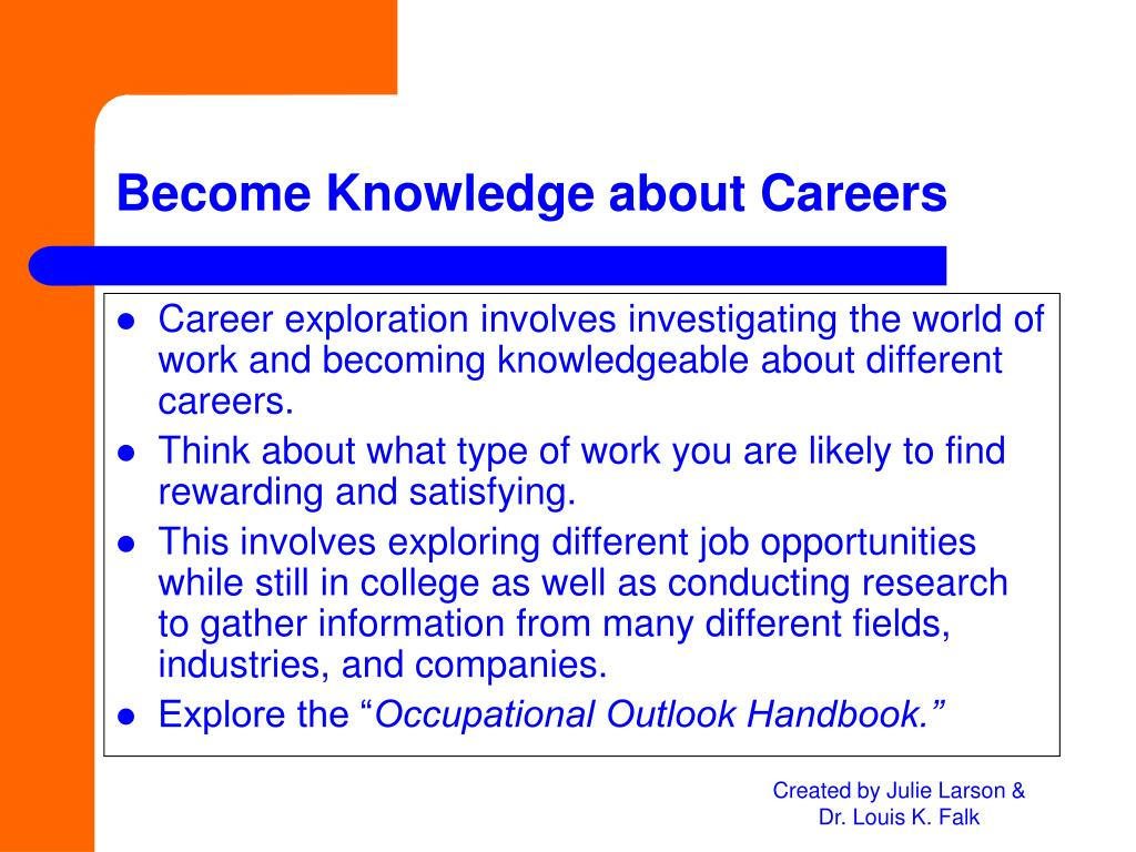 Career exploration involves investigating the world of work and becoming knowledgeable about different careers.