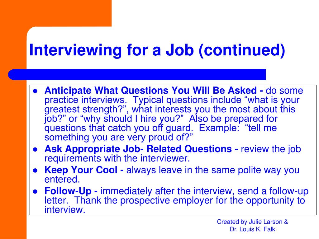 Anticipate What Questions You Will Be Asked -