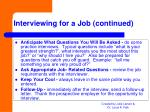 interviewing for a job continued