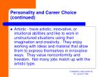 personality and career choice continued10