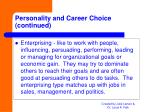 personality and career choice continued12