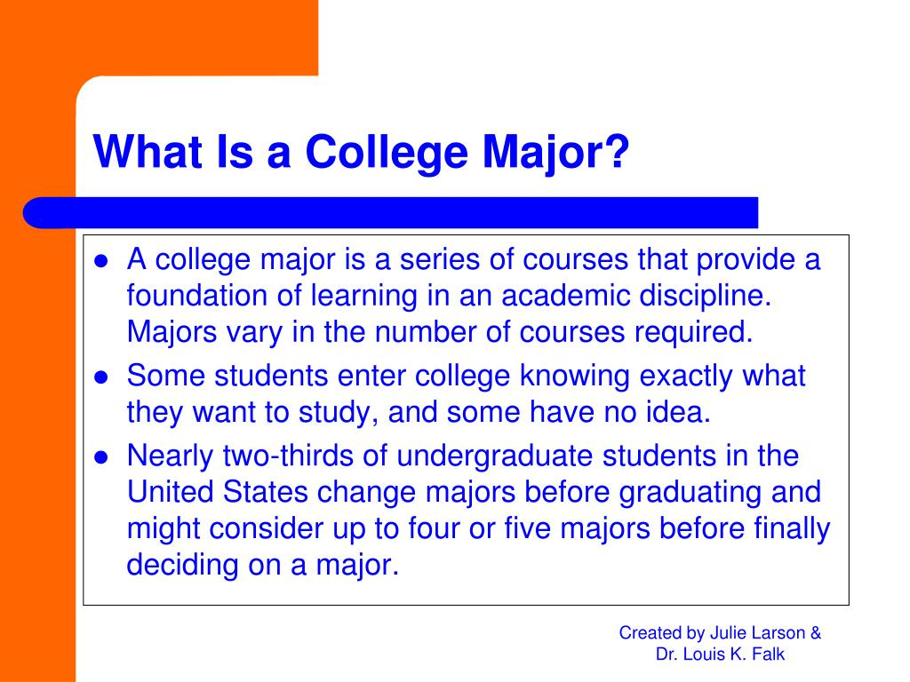A college major is a series of courses that provide a foundation of learning in an academic discipline.  Majors vary in the number of courses required.
