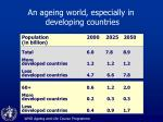an ageing world especially in developing countries