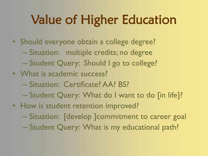 Value of higher education
