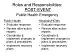 roles and responsibilities post event public health emergency