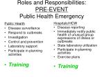 roles and responsibilities pre event public health emergency