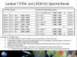 landsat 7 etm and ldcm oli spectral bands