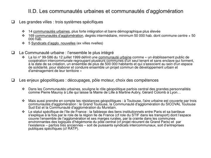 ii d les communaut s urbaines et communaut s d agglom ration n.