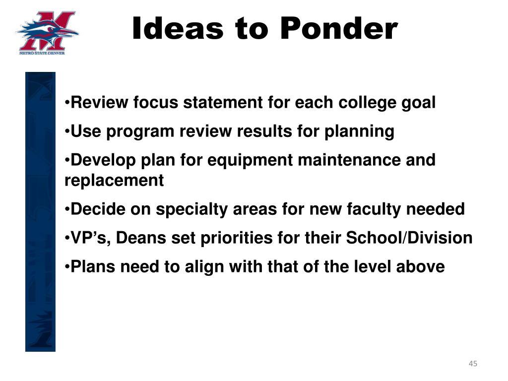 Ideas to Ponder