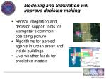 modeling and simulation will improve decision making