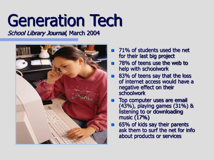 Generation tech school library journal march 2004
