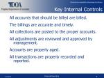 key internal controls