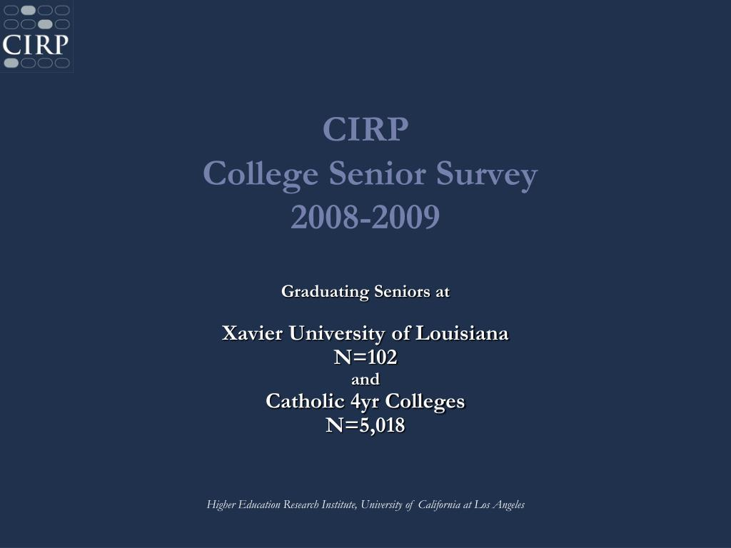 cirp college senior survey 2008 2009 l.