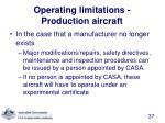 operating limitations production aircraft