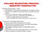 college recruiting process industry perspective