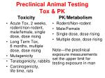 preclinical animal testing tox pk