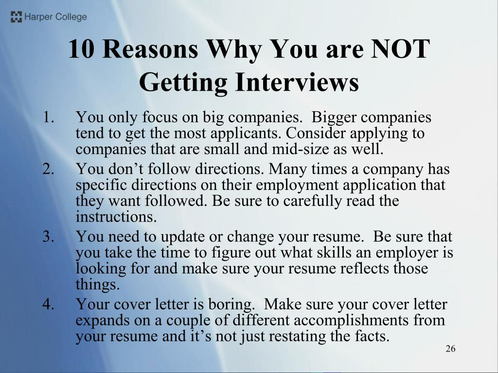 10 Reasons Why You are NOT Getting Interviews