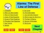 alarms the first line of defense