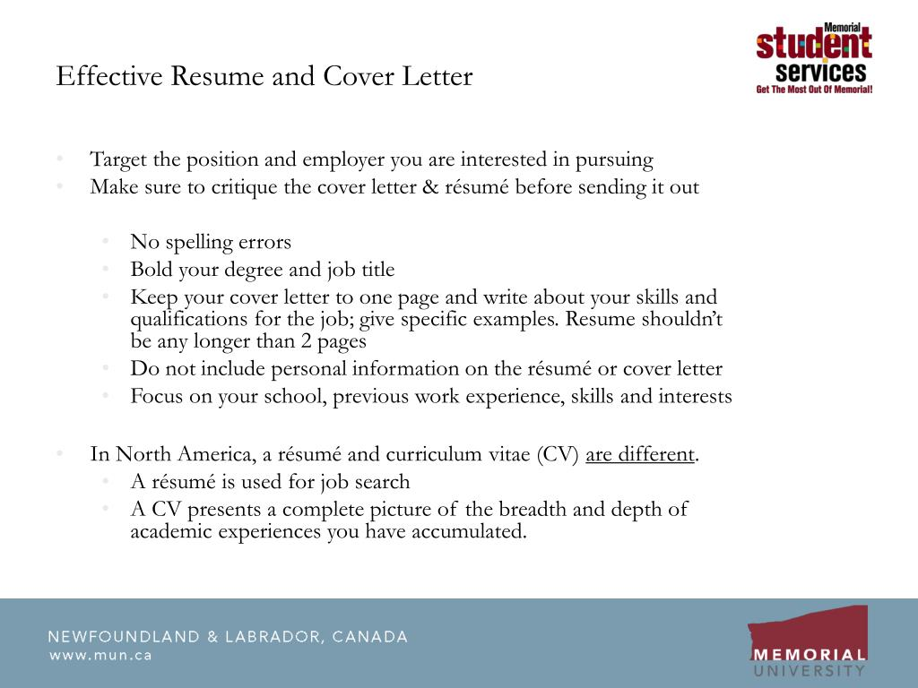 Effective Resume and Cover Letter
