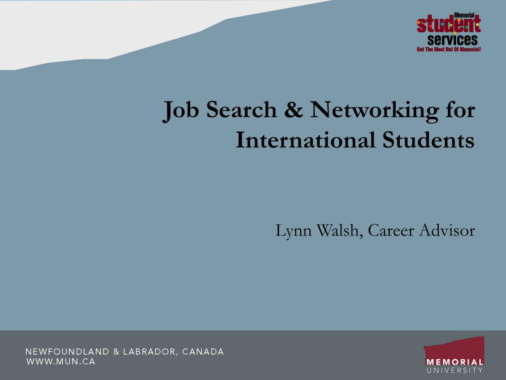 job search networking for international students l.
