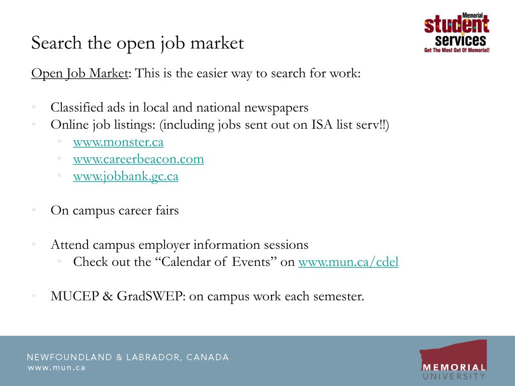 Search the open job market