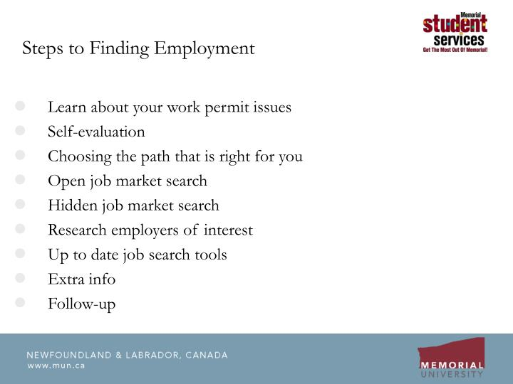 Steps to finding employment