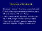 duration of treatment