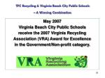 tfc recycling virginia beach city public schools a winning combination