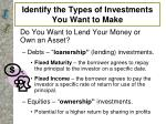 identify the types of investments you want to make