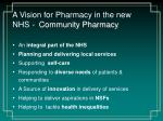 a vision for pharmacy in the new nhs community pharmacy