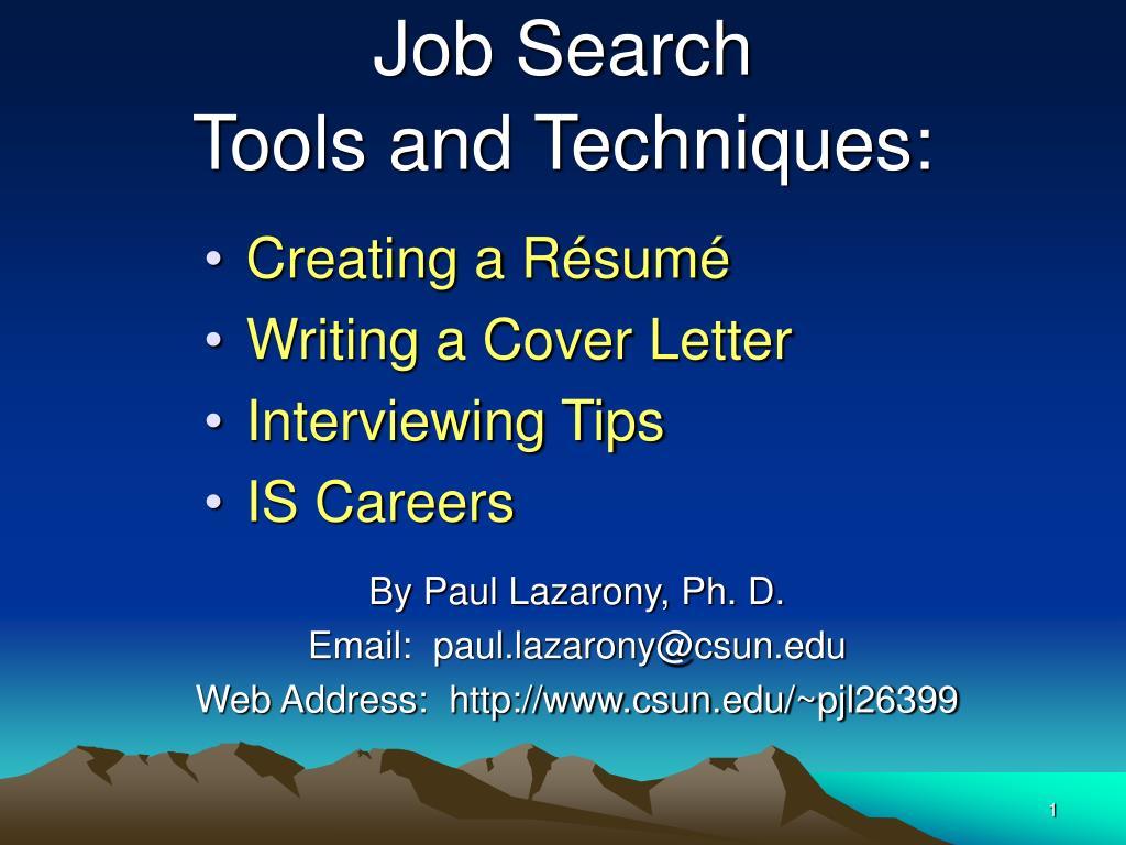 job search tools and techniques l.